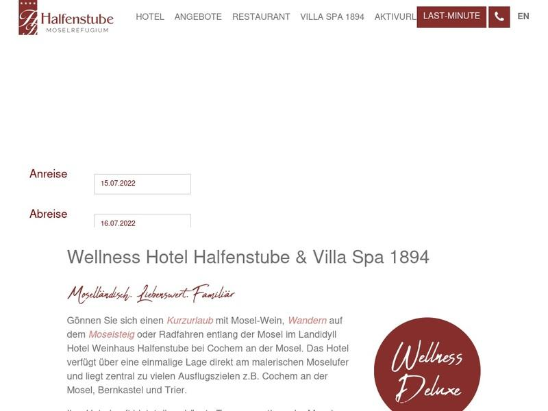 Screenshot von https://www.hotel-halfenstube.de/